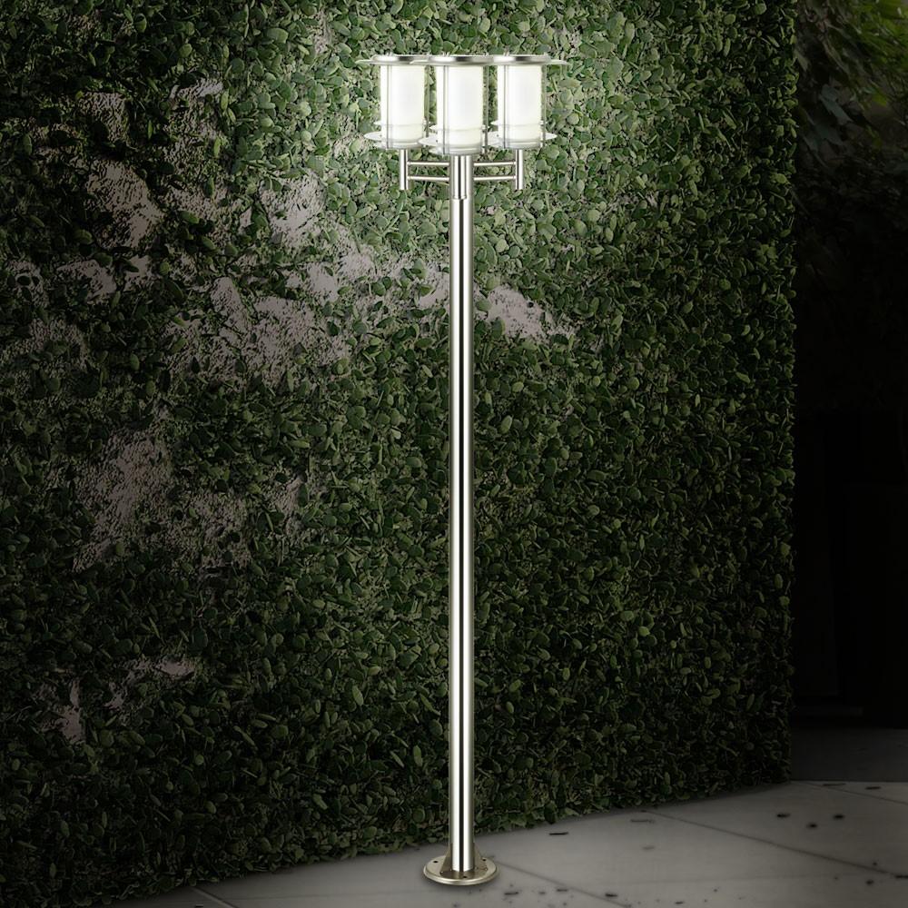 2 m garten laterne hof beleuchtung elegantes edelstahl design einfahrt 3x licht ebay. Black Bedroom Furniture Sets. Home Design Ideas