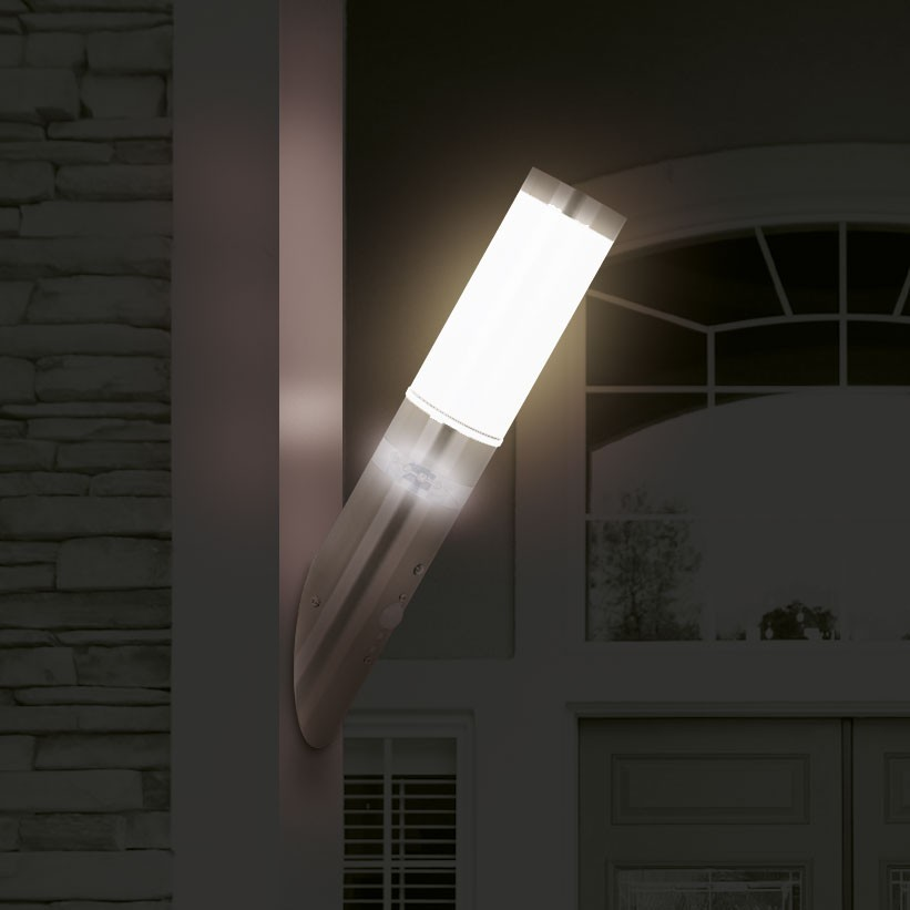 top terrassen beleuchtung wand leuchte led au en lampe edelstahl bewegungsmelder ebay. Black Bedroom Furniture Sets. Home Design Ideas