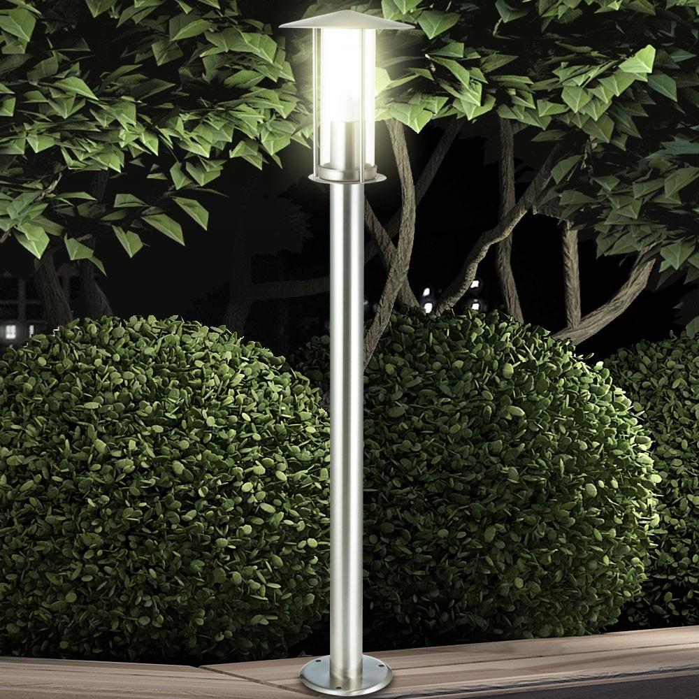 steh lampe stand leuchte weglampe au en terrassen garten laterne ip44 edelstahl ebay. Black Bedroom Furniture Sets. Home Design Ideas