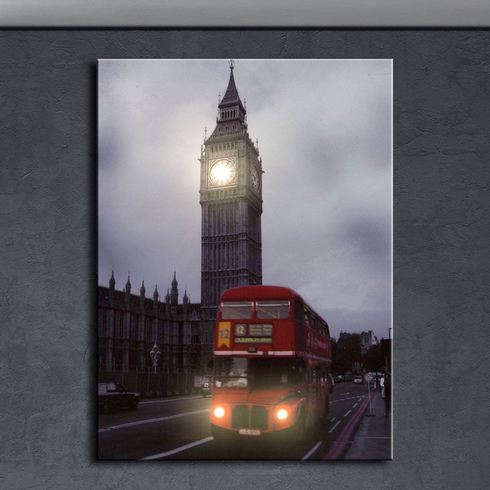 led wandbild big ben doppeldecker bus london leuchtbild schwarz wei rot neu ebay. Black Bedroom Furniture Sets. Home Design Ideas