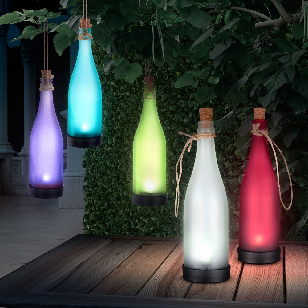 5er set solar led lampen glas flaschen flaschenpost garten leuchte dekoration ebay. Black Bedroom Furniture Sets. Home Design Ideas
