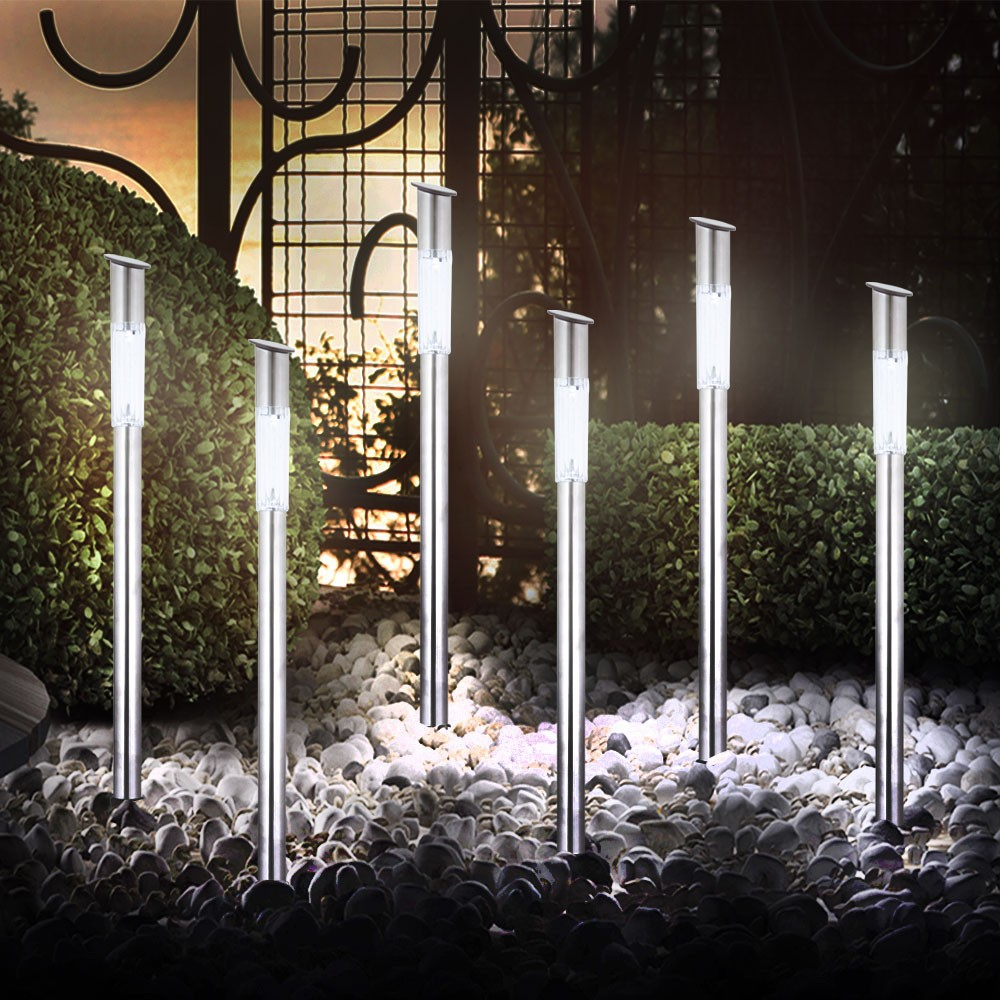 6er set solarleuchten led garten au en leuchten lampen solar gartenlampen licht ebay. Black Bedroom Furniture Sets. Home Design Ideas