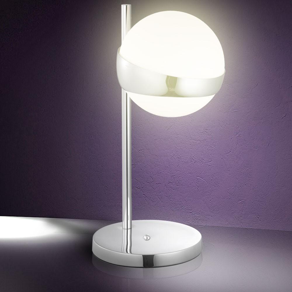 b ro wohnzimmer tischleuchte licht glas chrom nachtisch lampe beleuchtung kugel. Black Bedroom Furniture Sets. Home Design Ideas