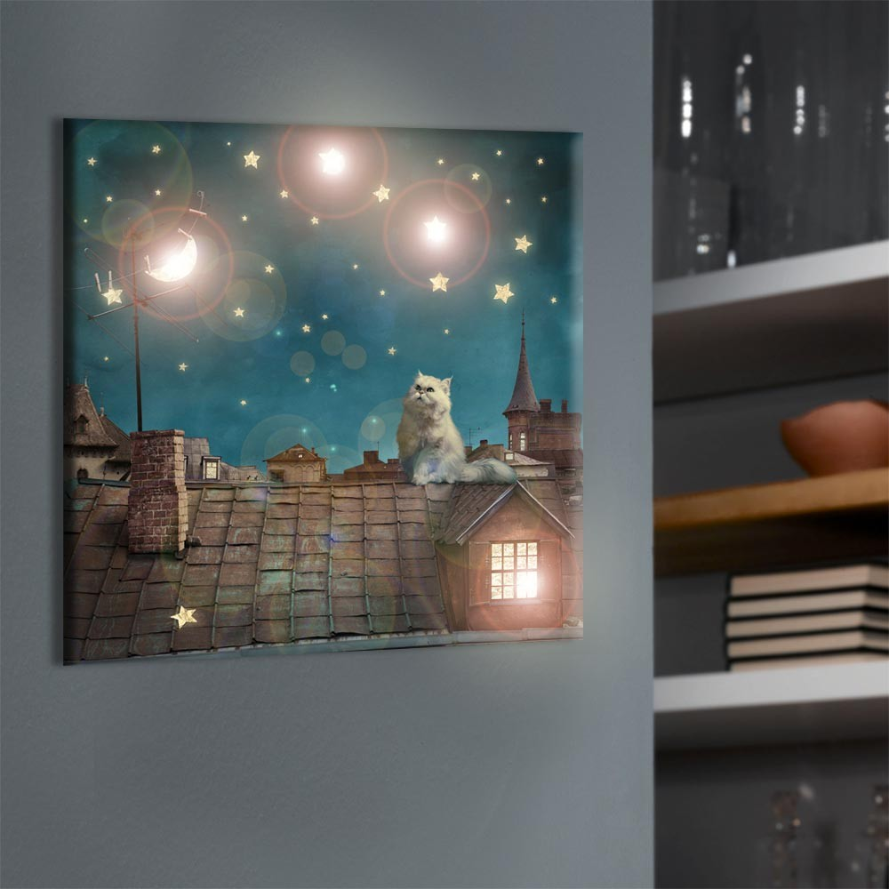 led leuchtbild wandbild bild halbmond sterne dekoration mond katze auf dem dach ebay. Black Bedroom Furniture Sets. Home Design Ideas