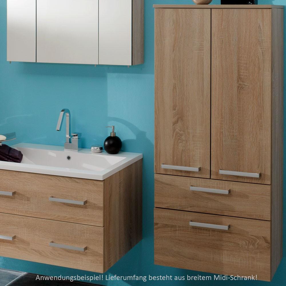 midischrank hochschrank wand schrank bad badezimmer mdf breit holzoptik eiche ebay. Black Bedroom Furniture Sets. Home Design Ideas