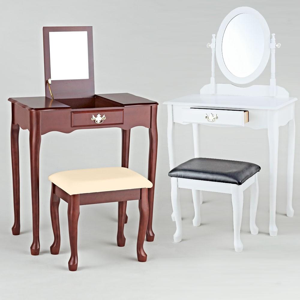 coiffeuse avec miroir tabouret rembourr beige bois cerisier couleur blanc antiq ebay. Black Bedroom Furniture Sets. Home Design Ideas
