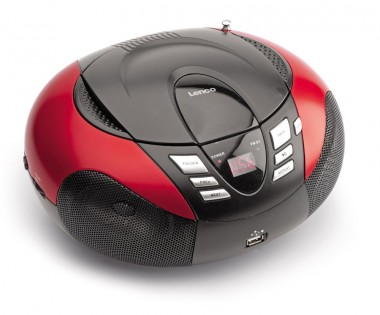 Tragbarer CD/MP3-Player mit Tuner und LED Display in rot