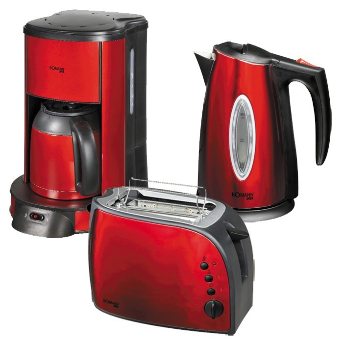 bomann fr hst cks set kaffeemaschine toaster wasserkocher metallic rot. Black Bedroom Furniture Sets. Home Design Ideas
