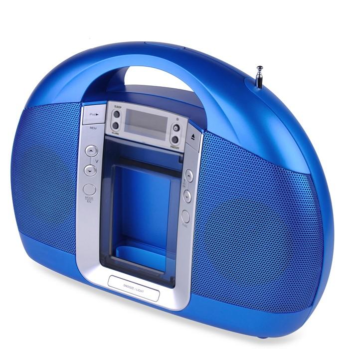 radio alarm clock ipod docking station charging station lenco ipd 5200 blue. Black Bedroom Furniture Sets. Home Design Ideas