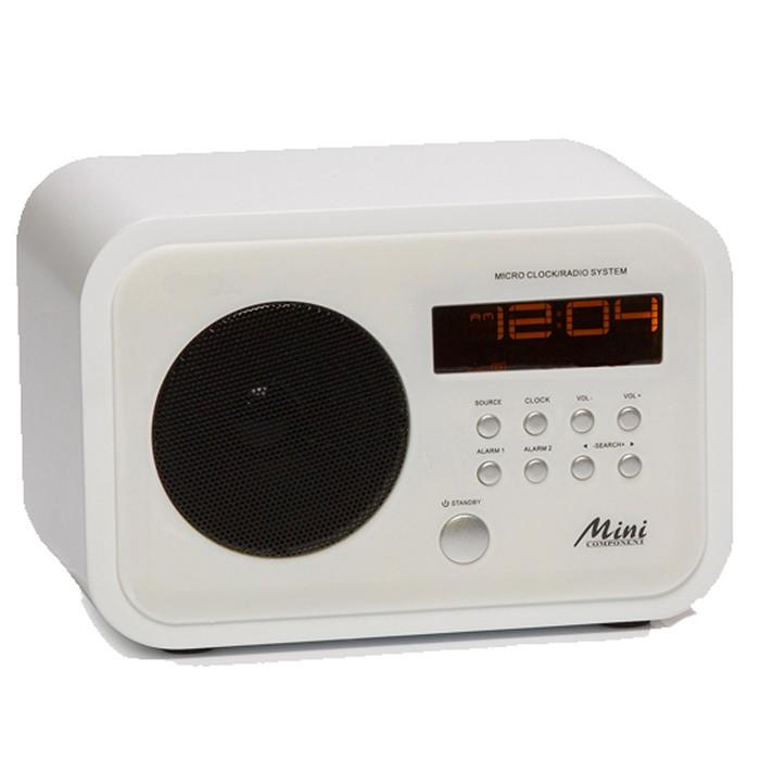 radiowecker ukw radio mini retro radio holz weiss wecker aux in display snooze ebay. Black Bedroom Furniture Sets. Home Design Ideas
