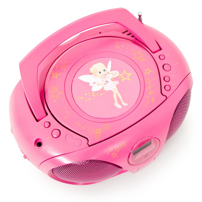 CD-Player Ghettoblaster rosa Kinder Mädchen Boombox Stereo portable Radio FM BigBen CD45 fairy pink