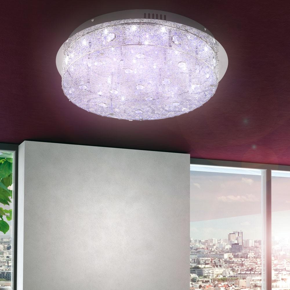 Kristall Wand Leuchte Wohnzimmer Decken Lampe Licht Bunt LED Chrom Beleuchtung  eBay