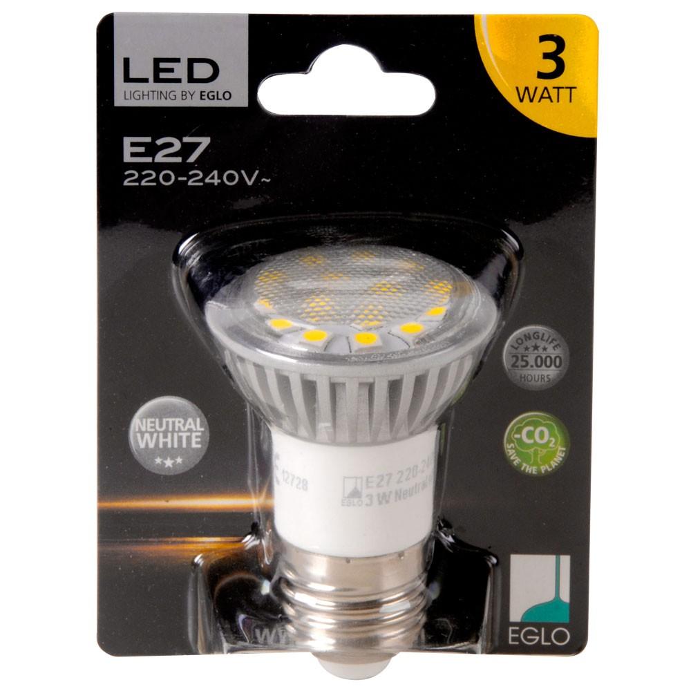 3w e27 led leuchtmittel 180lm 4200k neutralwei eglo 12728 lampen m bel leuchtmittel led lampen. Black Bedroom Furniture Sets. Home Design Ideas