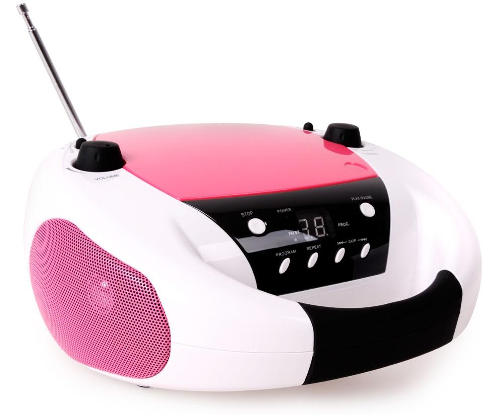 Tragbares CD-Radio Stereoanlage CD-Player Kinder Musikanlage Boombox Bigben CD52 BCRS Weiß Rosa