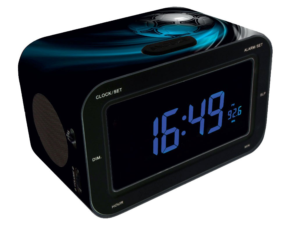 wecker lcd display schlummerfunktion fussball radio. Black Bedroom Furniture Sets. Home Design Ideas