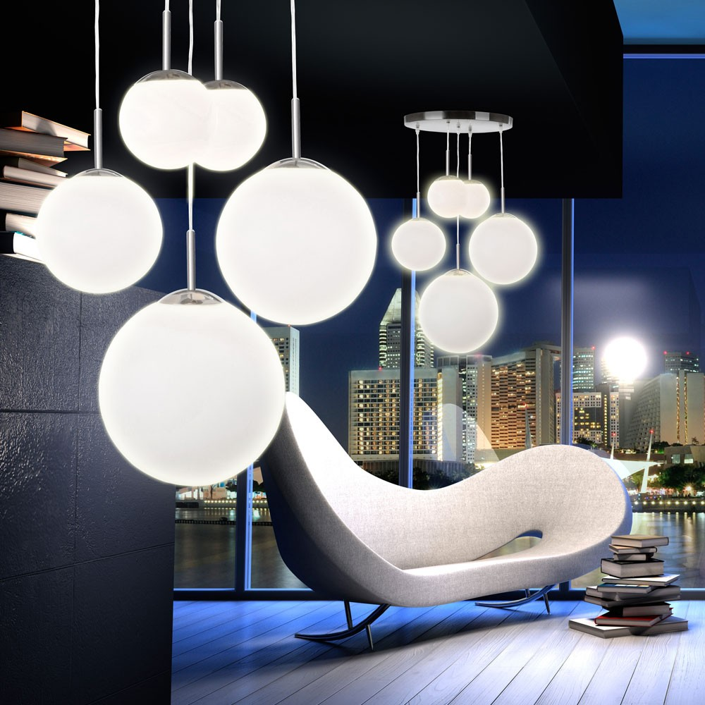 h nge lampe pendel leuchte 5 kugeln satiniert opal glas design modern wohnzimmer ebay. Black Bedroom Furniture Sets. Home Design Ideas