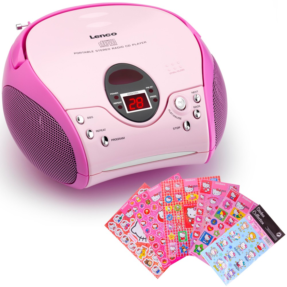 Kinder Mädchen Stereoanlage CD-Player MP3 Musikanlage Radio Radiorecorder Pink inklusive Hello Kitty Sticker