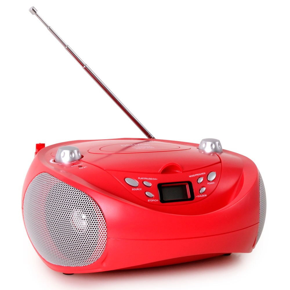 Tragbarer CD-Player USB MP3-Player Kinder Stereoanlage Radio AUX Denver TCU-205 rot