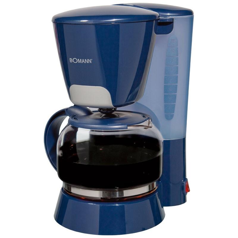 Moderne Kaffeemaschine Glaskanne 1,25 L Wassertank Kaffeeautomat Bomann KA 167 blau