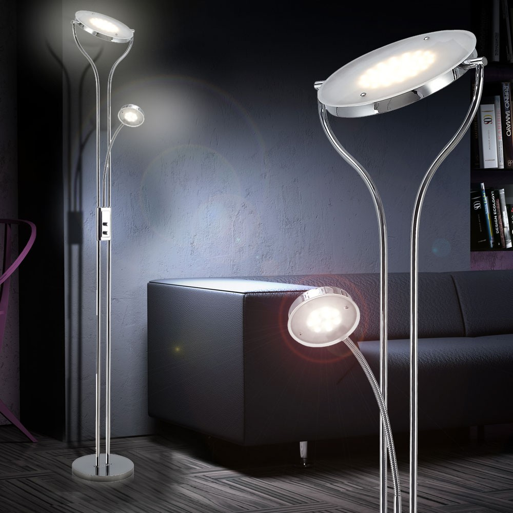 24 watt led floor lamp living room lamp reading lamp stand lamp hallway lighting ebay. Black Bedroom Furniture Sets. Home Design Ideas