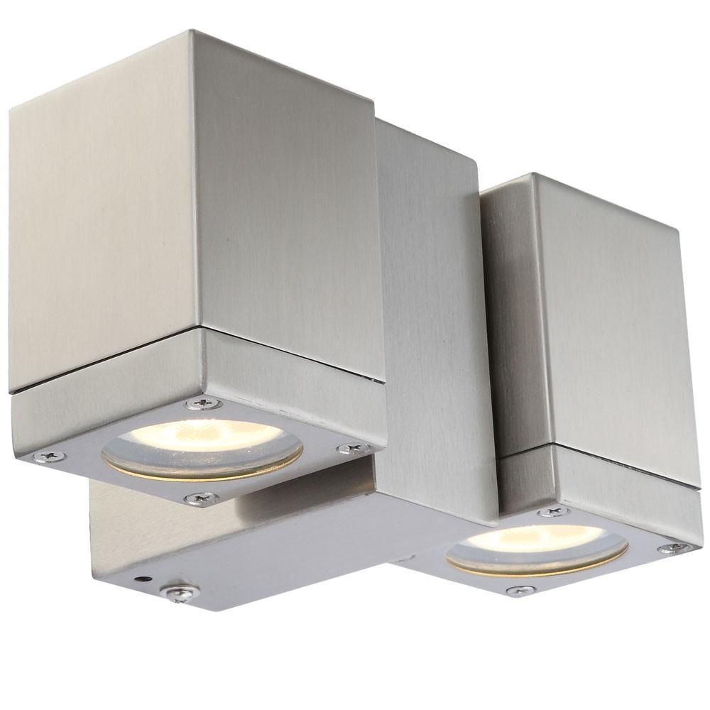 led au enlampe aus edelstahl mit doppelspot lampen m bel au enleuchten wandleuchten. Black Bedroom Furniture Sets. Home Design Ideas