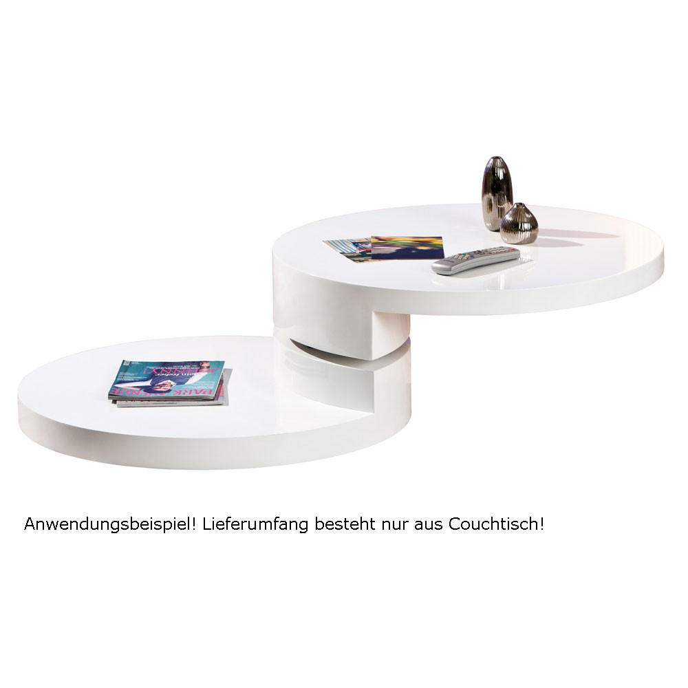 drehbarer runder couchtisch in wei lampen m bel m bel. Black Bedroom Furniture Sets. Home Design Ideas