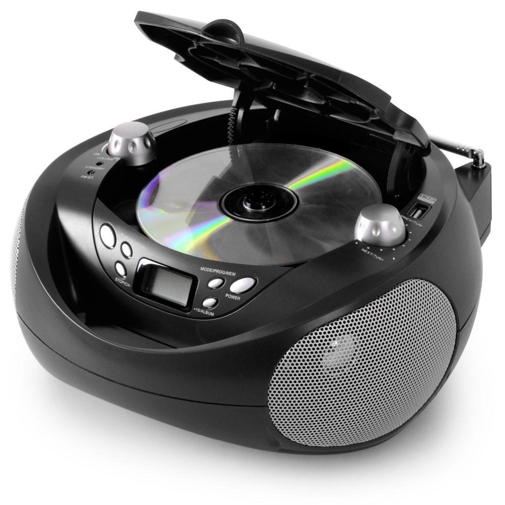 CD USB MP3-Player Kinder Stereoanlage tragbar Radio AUX schwarz + Sticker