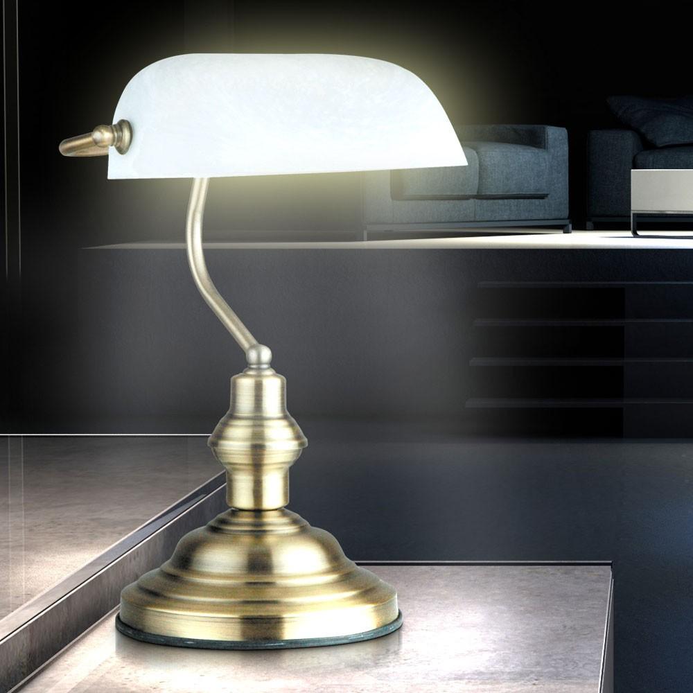 Lampe de table laiton antique verre interrupteur bureau - Lampe de bureau banquier laiton verre vert ...