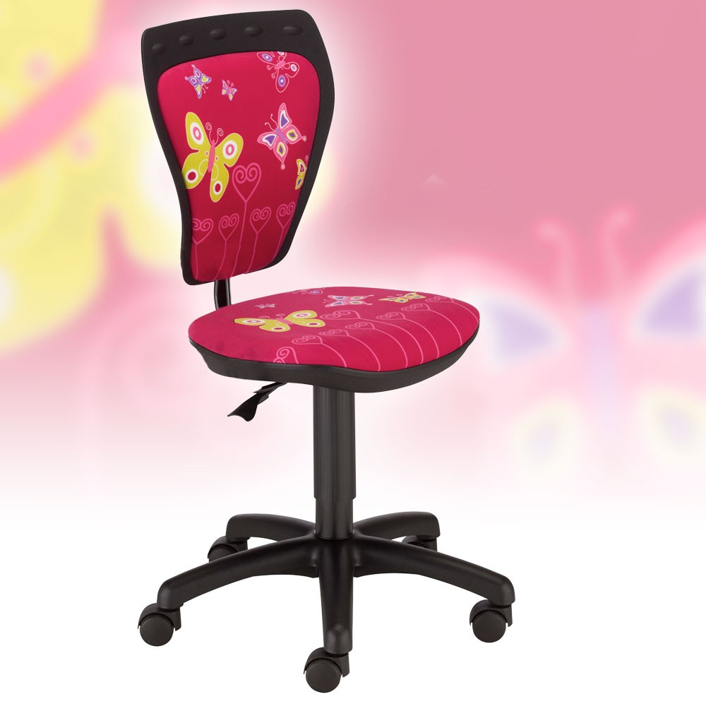 enfants chaise tournante fille bureau salle de jeux papillon motif nowy styl ebay. Black Bedroom Furniture Sets. Home Design Ideas
